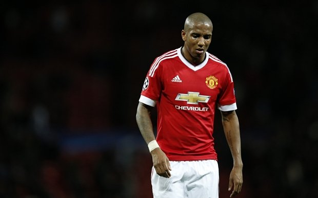 Manchester United's Ashley Young leaves the pitch after the Champions League group B soccer match between Manchester United and PSV Eindhoven at Old Trafford Stadium in Manchester, England, Wednesday, Nov. 25, 2015. The match ended 0-0. (AP Photo/Jon Super)