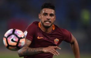 Roma's defender from Brazil Emerson Palmieri runs for the ball during the Italian Tim Cup second leg semi-final football match AS Roma vs Lazio on April 4, 2017 at the Olympic stadium in Rome. AS Roma won 3-2 but Lazio is qualified for the final. / AFP PHOTO / Filippo MONTEFORTE        (Photo credit should read FILIPPO MONTEFORTE/AFP/Getty Images)